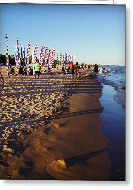Abstract Rain Greeting Cards - Kites Over Lake Michigan Two Rivers WI Greeting Card by Carol Toepke