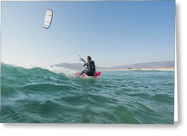 35-39 Years Greeting Cards - Kitesurfing Tarifa Cadiz Andalusia Spain Greeting Card by Ben Welsh