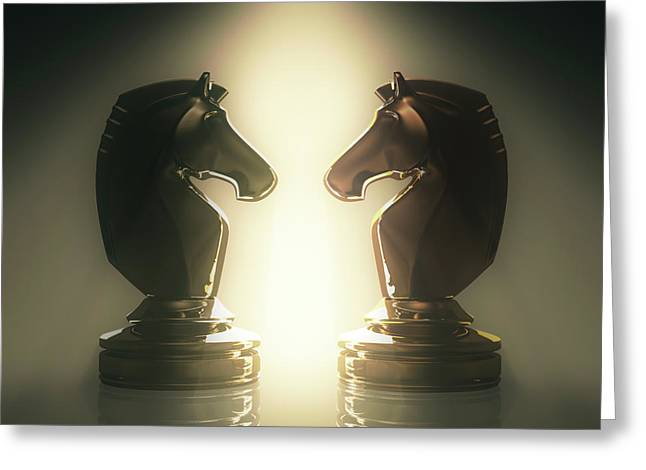 Knight Chess Pieces Greeting Card by Ktsdesign