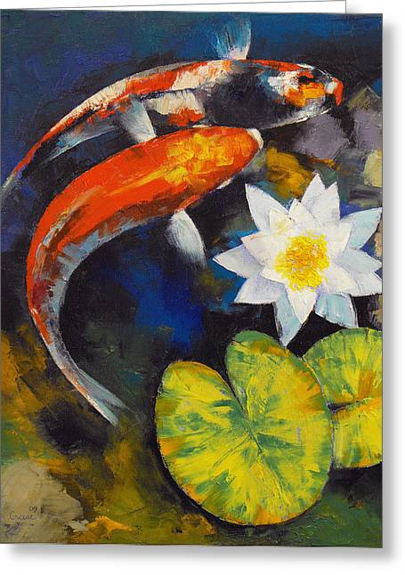 Japanese Koi Greeting Cards - Koi Fish and Water Lily Greeting Card by Michael Creese