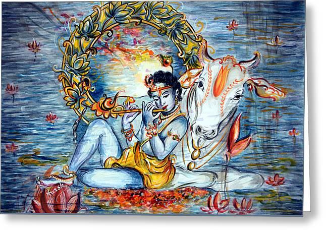 Swans... Greeting Cards - Krishna Greeting Card by Harsh Malik