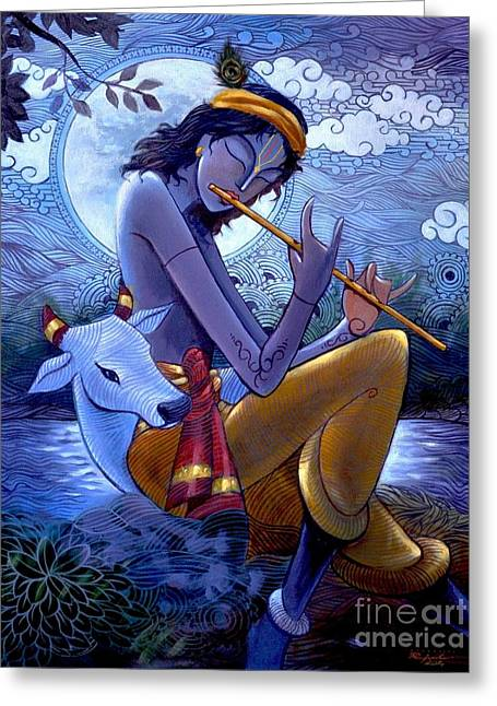Best Sellers -  - Praying Hands Greeting Cards - Krishna Greeting Card by Rajesh babu Ponnayyan