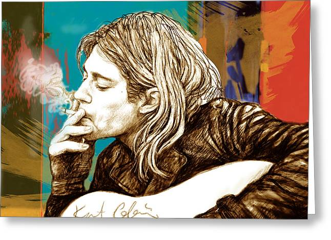 Lead Singer Greeting Cards - Kurt Cobain Stylised Pop Morden Art Drawing Sketch Portrait Greeting Card by Kim Wang