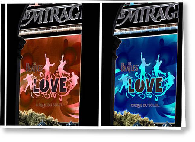 Mirage Greeting Cards - L O V E the Beatles Greeting Card by David Bearden