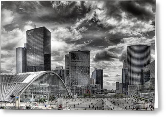 Glass Facades Greeting Cards - La Defense PARIS Greeting Card by Melanie Viola