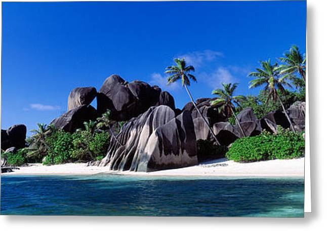 Grey Clouds Greeting Cards - La Digue Island Seychelles Greeting Card by Panoramic Images