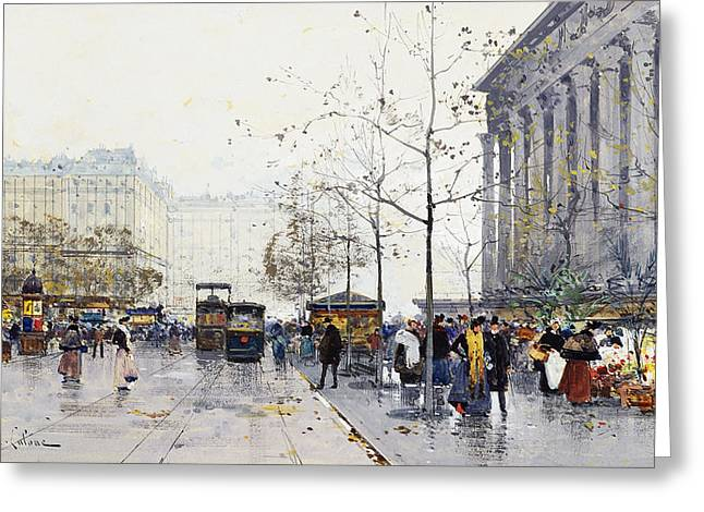 La Madeleine Paris Greeting Card by Eugene Galien-Laloue