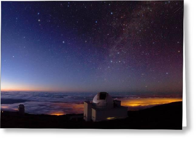 Ursa Minor Greeting Cards - La Palma telescopes at night Greeting Card by Science Photo Library