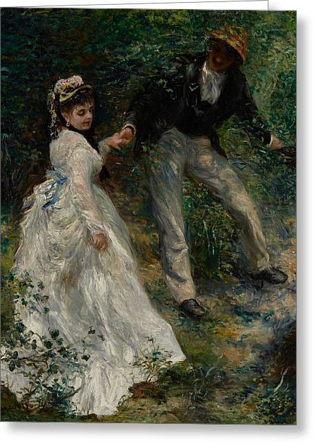 Renoir Greeting Cards - La Promenade Greeting Card by Pierre Auguste Renoir