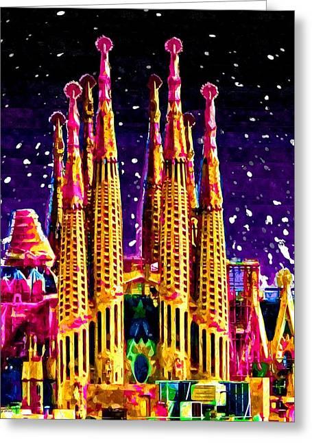 Europe Mixed Media Greeting Cards - La Sagrada Familia Greeting Card by Daniel Janda