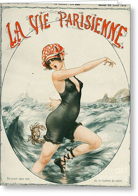 Swimsuits Swimming Costumes Greeting Cards - La Vie Parisienne  1919 1910s France Greeting Card by The Advertising Archives