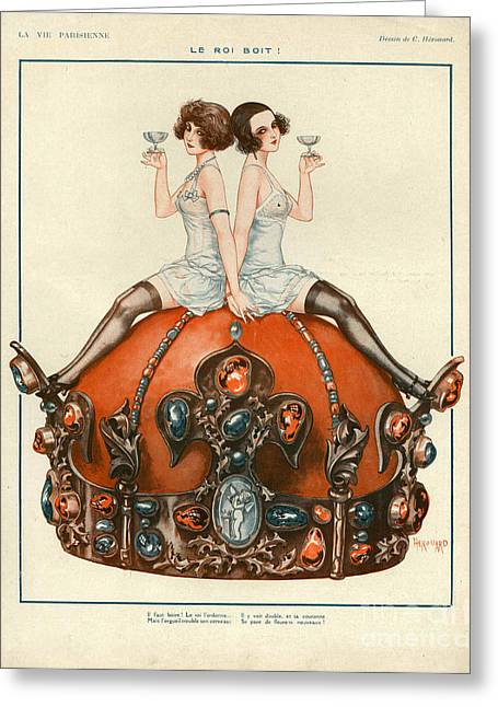 Twentieth Century Greeting Cards - La Vie Parisienne  1924 1920s France Cc Greeting Card by The Advertising Archives