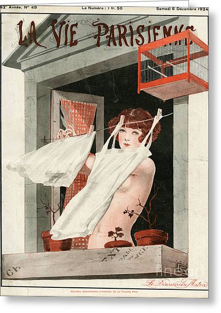 Twentieth Century Drawings Greeting Cards - La Vie Parisienne  1924 1920s France Greeting Card by The Advertising Archives