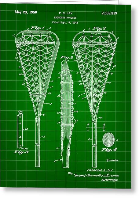 Offense Digital Art Greeting Cards - Lacrosse Stick Patent 1948 - Green Greeting Card by Stephen Younts