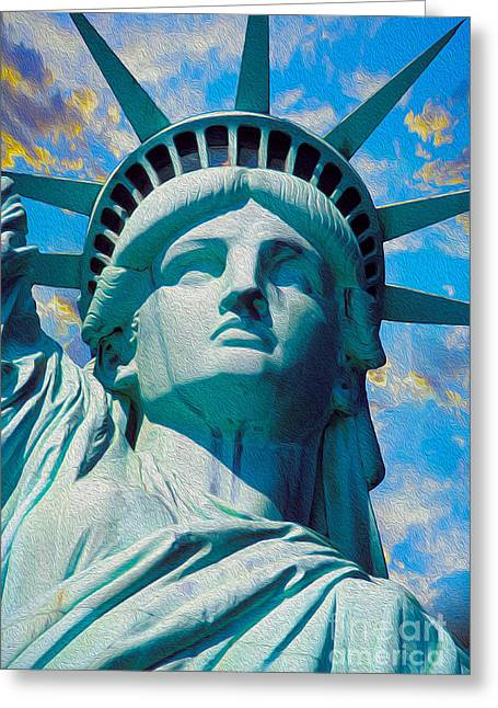 .freedom Mixed Media Greeting Cards - Lady Liberty Greeting Card by Jon Neidert