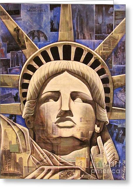 Statue Of Liberty Mixed Media Greeting Cards - Lady Liberty Greeting Card by Joseph Sonday