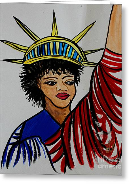 American Independance Greeting Cards - Lady Liberty Greeting Card by Kim Peto