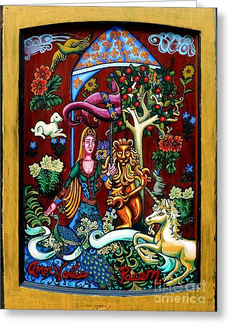 Trees Tapestries - Textiles Greeting Cards - Lady Lion and Unicorn Greeting Card by Genevieve Esson