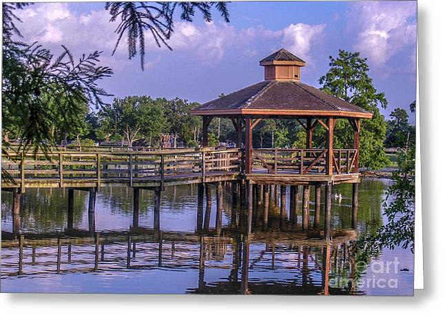 Pond In Park Greeting Cards - Lafreniere Gazebo Greeting Card by Renee Barnes