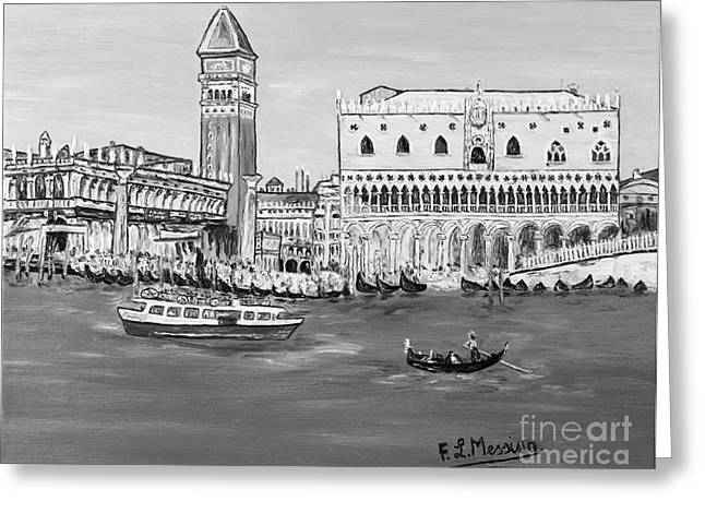 Gondolier Drawings Greeting Cards - Laguna Greeting Card by Loredana Messina