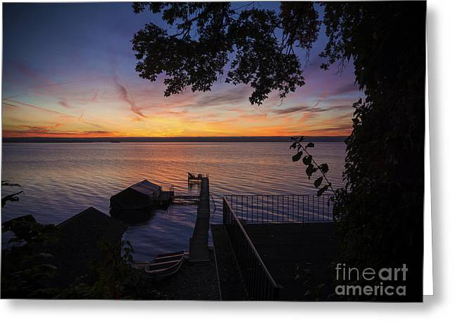 Docked Boat Greeting Cards - Lake Cayuga Sunrise Greeting Card by Michael Shake