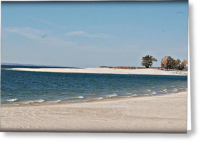 Yellow Leaves Pyrography Greeting Cards - Lake McConaughy Beach Nebraska Greeting Card by Krisztina  Gayler