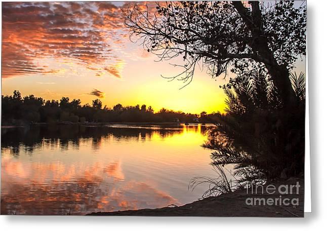 Lake Sunset Greeting Card by Robert Bales