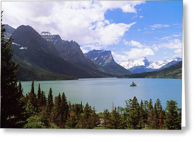 Panorama Mountain Images Greeting Cards - Lake Surrounded By Mountains, St. Mary Greeting Card by Panoramic Images