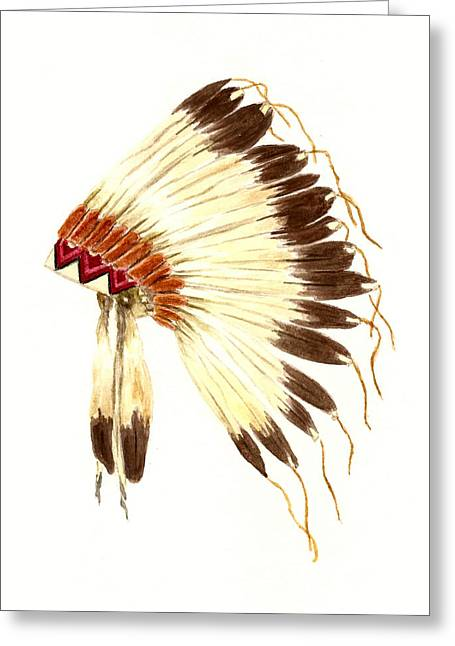 Native American Illustration Greeting Cards - Lakota Headdress Greeting Card by Michael Vigliotti