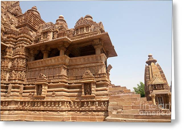 Ancient Indian Art Greeting Cards - Lakshmana Temple, India Greeting Card by Bernd Rohrschneider