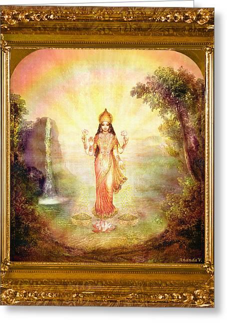 Goddess Durga Mixed Media Greeting Cards - Lakshmi with the Waterfall Greeting Card by Ananda Vdovic