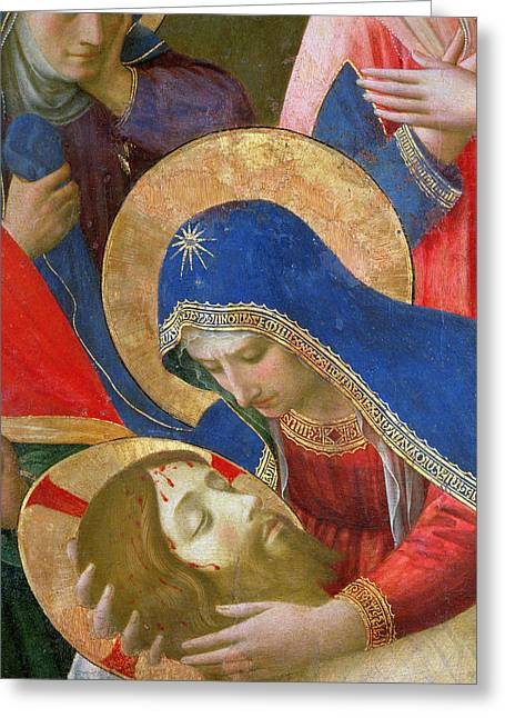 Gospel Greeting Cards - Lamentation over the Dead Christ Greeting Card by Fra Angelico