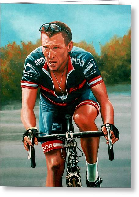 Cancer Paintings Greeting Cards - Lance Armstrong Greeting Card by Paul  Meijering