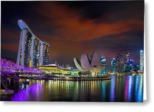 Famous Hotel Greeting Cards - Landscape of Singapore city Greeting Card by Anek Suwannaphoom