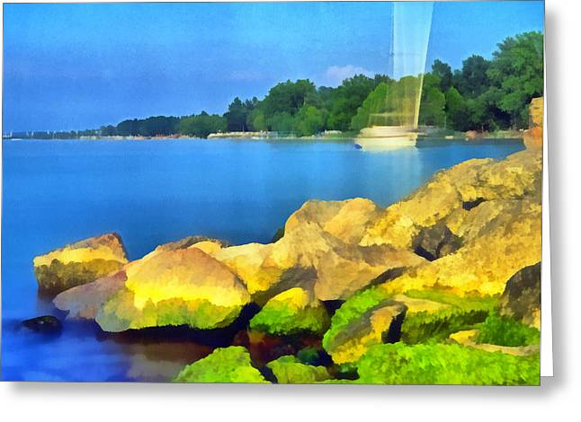 Water Filter Paintings Greeting Cards - Landscape of the Balaton lake Greeting Card by Odon Czintos