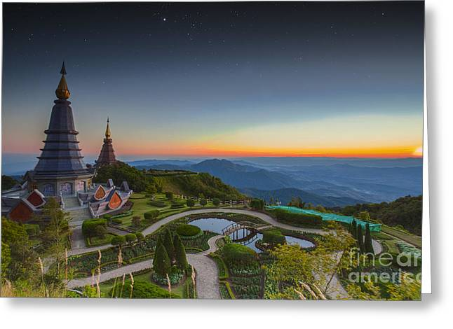 Doi Greeting Cards - Landscape of Two pagoda at Doi Inthanon Greeting Card by Anek Suwannaphoom