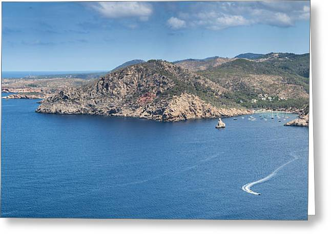 Ibiza Greeting Cards - Landscape sea view of Ibiza island Greeting Card by Matthew Gibson