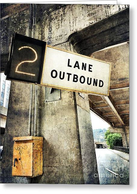 Lane Greeting Cards - 2 Lane Outbound Traffic Sign Greeting Card by Amy Cicconi