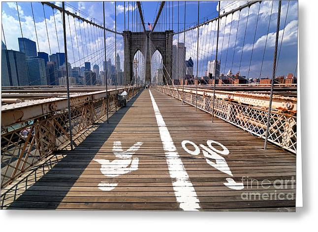 New York New York Greeting Cards - Lanes for pedestrian and bicycle traffic on the Brooklyn Bridge Greeting Card by Amy Cicconi