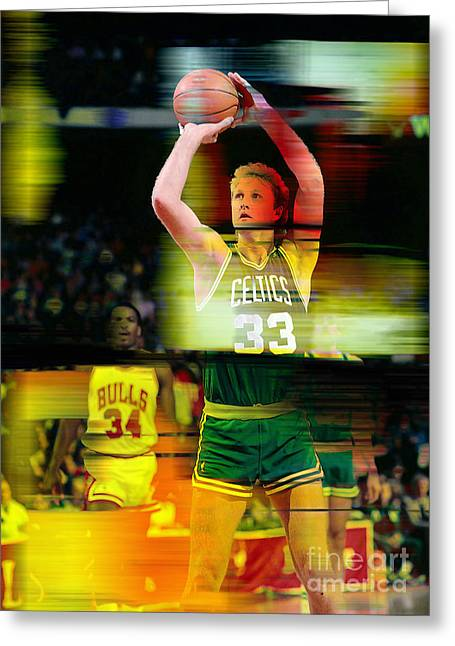 Larry Bird Greeting Cards - Larry Bird Greeting Card by Marvin Blaine