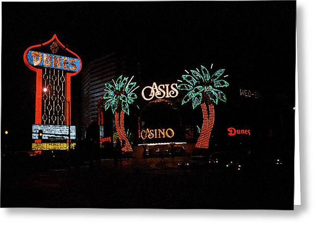 Glitter Gulch Greeting Cards - Las Vegas with Watercolor Effect Greeting Card by Frank Romeo