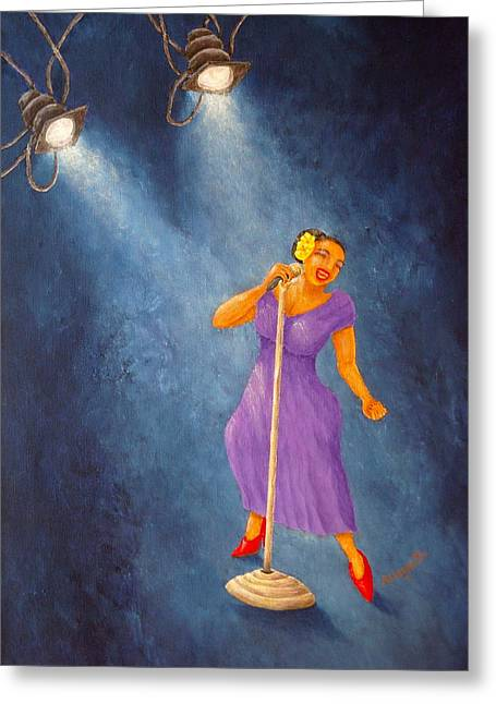 Pam Franz Greeting Cards - Latina Jazz Diva Greeting Card by Pamela Allegretto