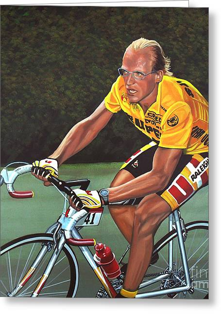 Cancer Paintings Greeting Cards - Laurent Fignon  Greeting Card by Paul Meijering