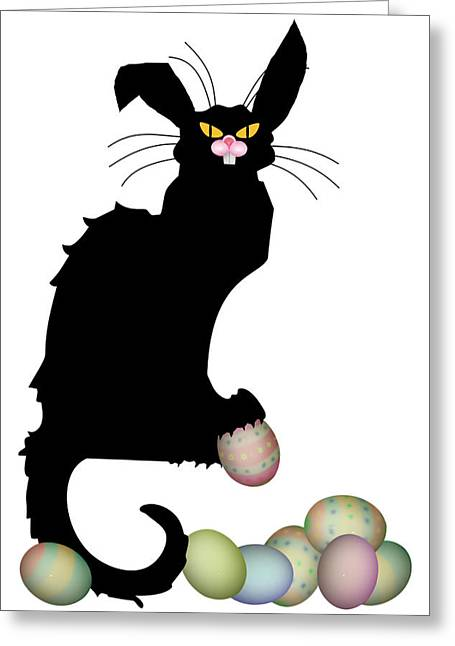 Le Cat Greeting Cards - Le Chat Noir - Easter Greeting Card by Gravityx9  Designs