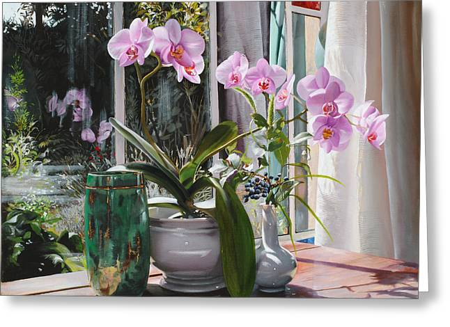 Interior Still Life Paintings Greeting Cards - Le Orchidee Rosa Greeting Card by Danka Weitzen