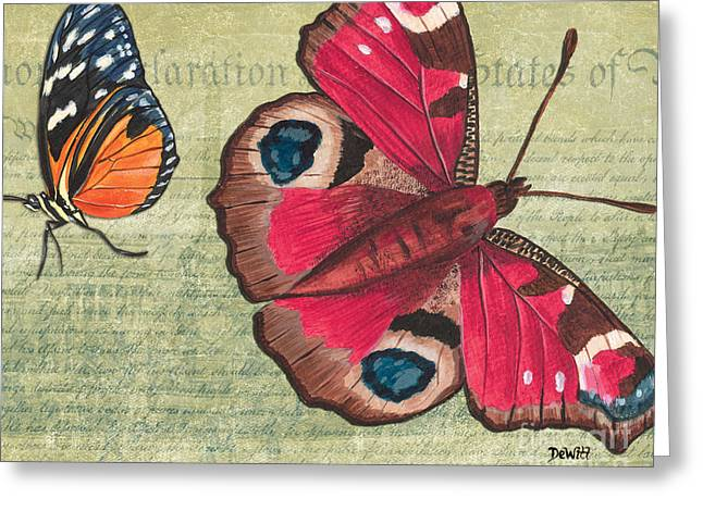 Natural Mixed Media Greeting Cards - Le Papillon 1 Greeting Card by Debbie DeWitt