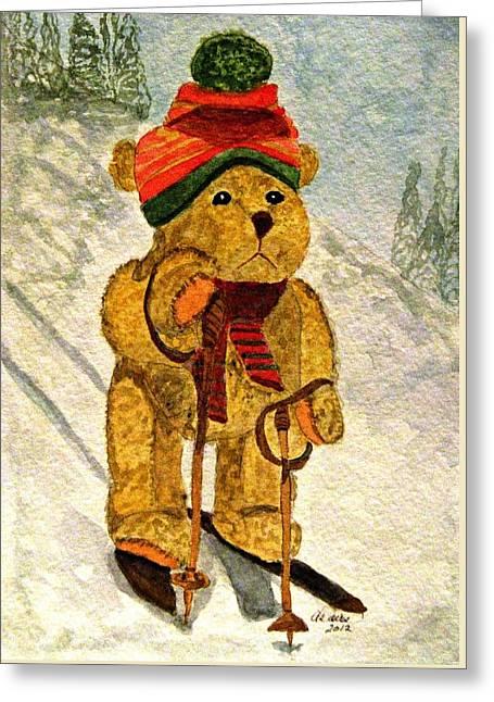 Ski Art Greeting Cards - Learning To Ski Greeting Card by Angela Davies