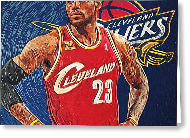 Lebron Digital Greeting Cards - LeBron James Greeting Card by Taylan Soyturk