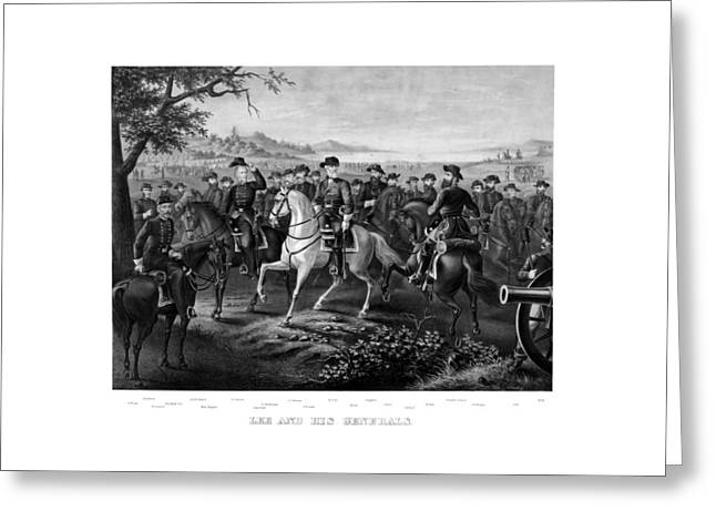 American Civil War Drawings Greeting Cards - Lee and His Generals Greeting Card by War Is Hell Store