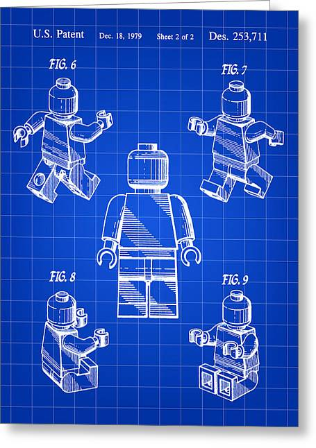 Lego Figure Patent 1979 - Blue Greeting Card by Stephen Younts